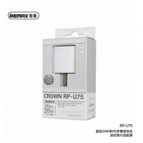 REMAX CROWN MINI RP-U75 EU White 20W Single PD Multi Compatible Fast Charger