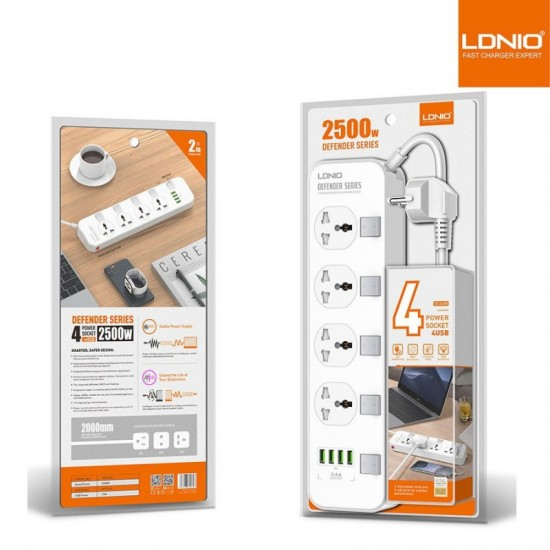 LDNIO SC4408 4 Power Socket + 4 USB Defender Series 2500W