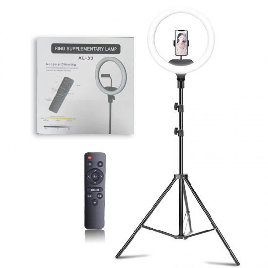 AL-33 12Inch Ring Supplementary Lamp Nonpolar Dimming Color 3 + Phone Holder + Remote