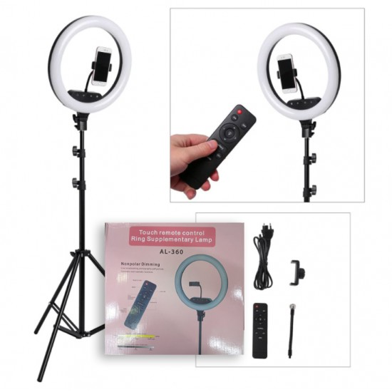 AL-360 14Inch Remote Control + Color 3 + Phone Holder Ring Supplementary Lamp Nonpolar Dimming